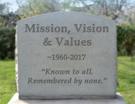 mission vision values tombstone